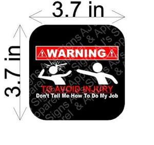 Avoid Injury Warning Sticker