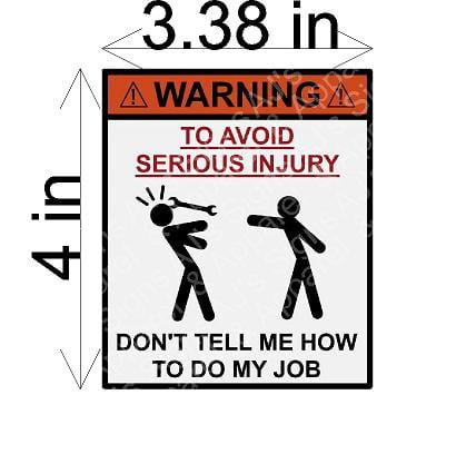 Avoid Injury Sticker