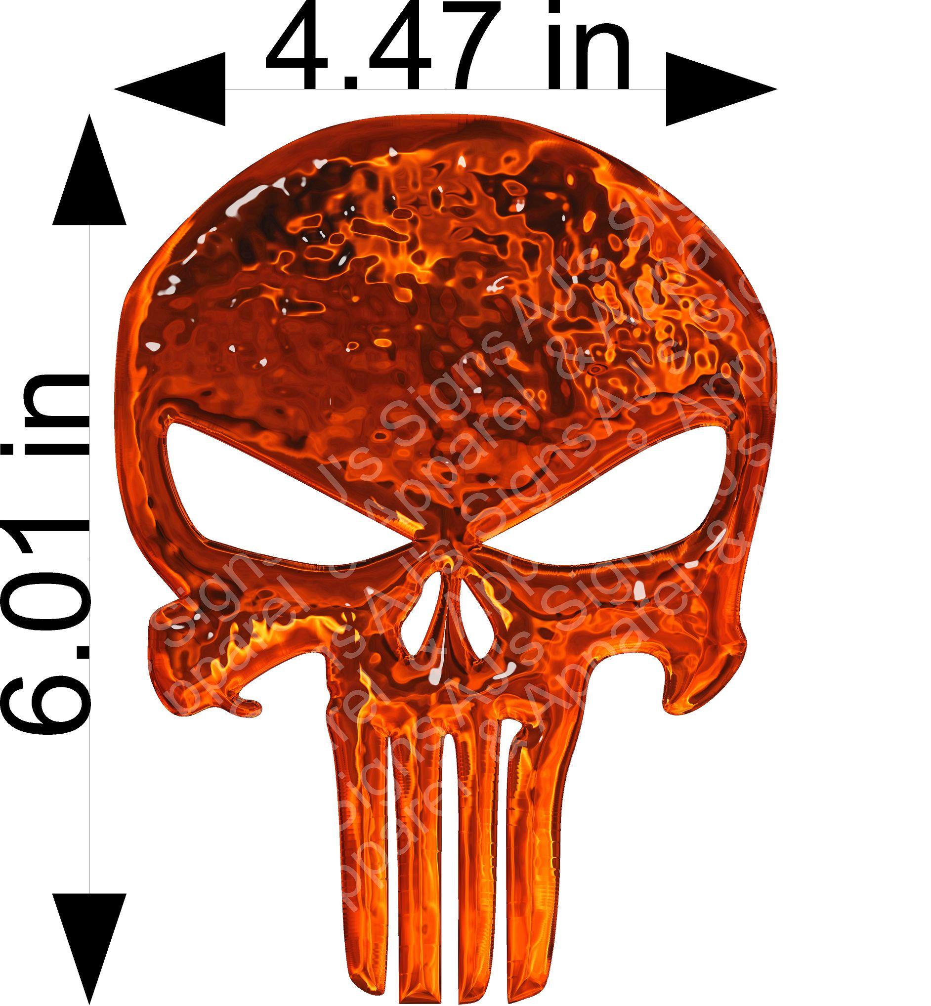 Orange Glass Punisher Skull
