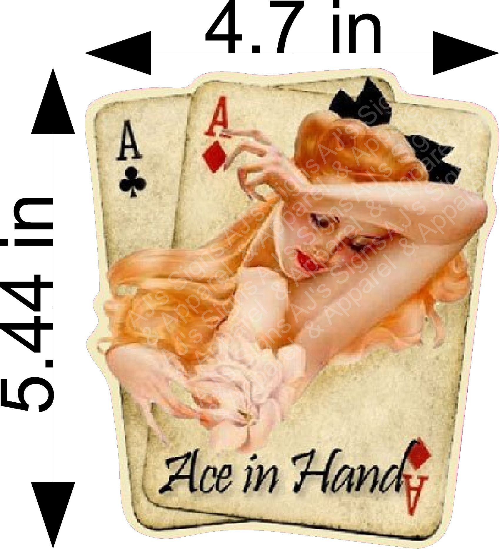 Aces In Hand Pin up Sticker