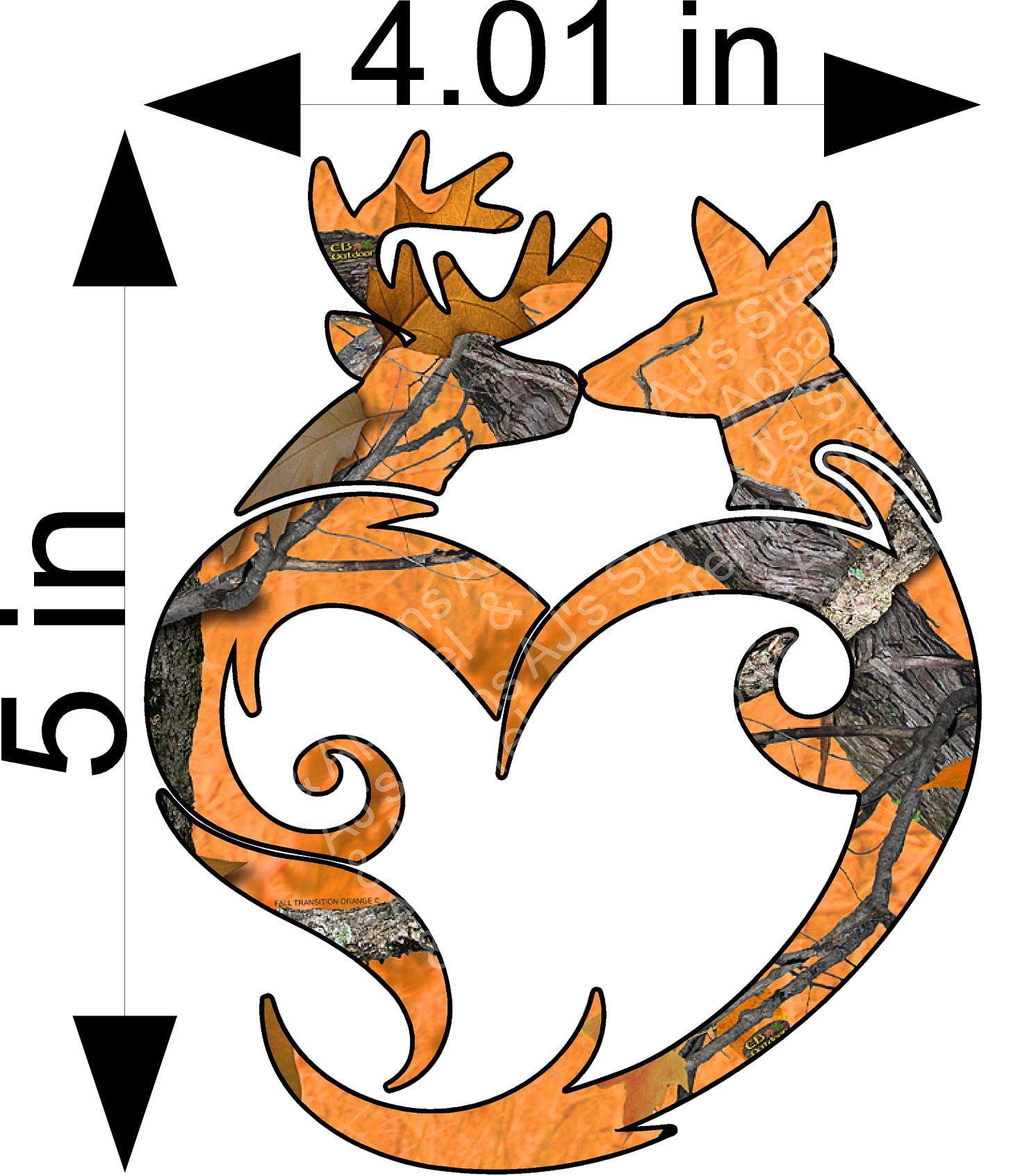 Orange camo tribal Buck and Doe Sticker