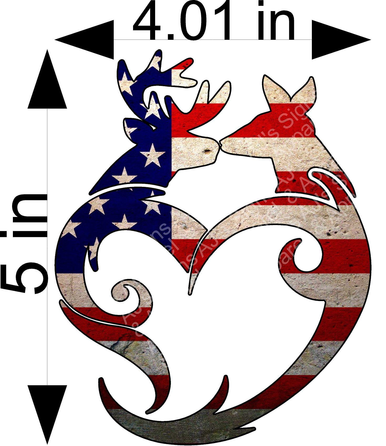 US Flag Tribal Buck and Doe Sticker