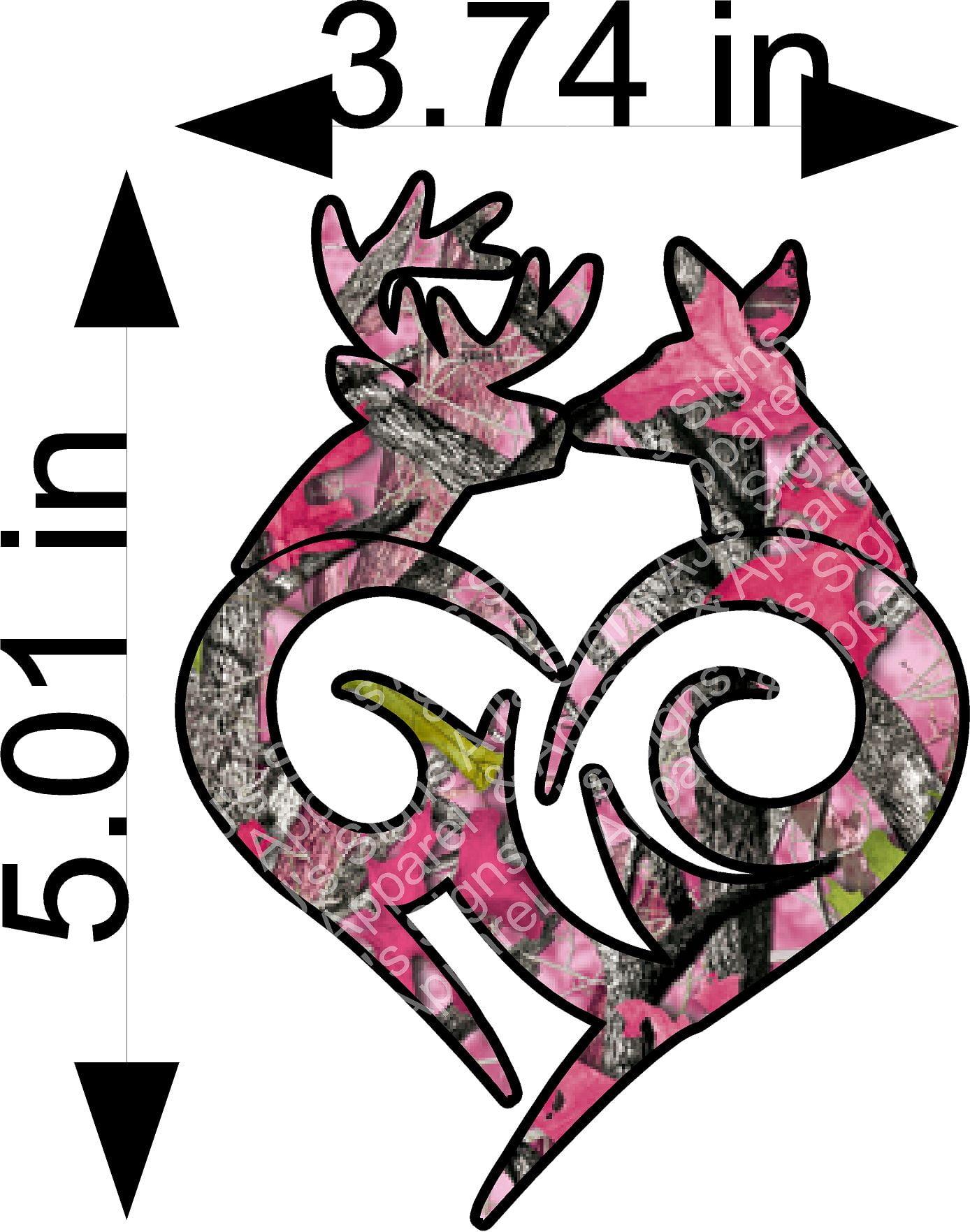 Pink Camo Buck and Doe Sticker