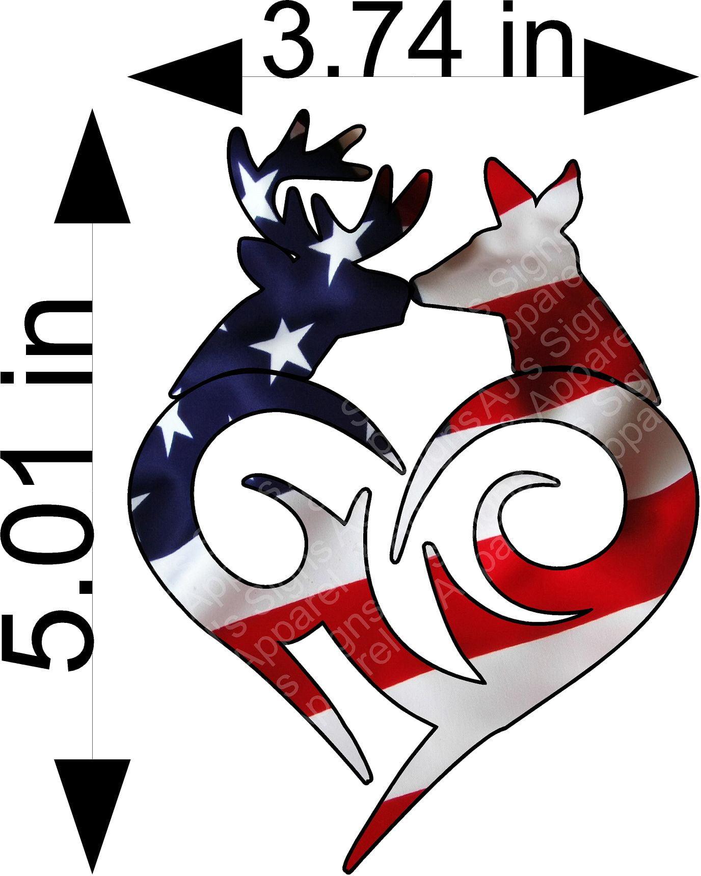 US Flag Buck and Doe Sticker