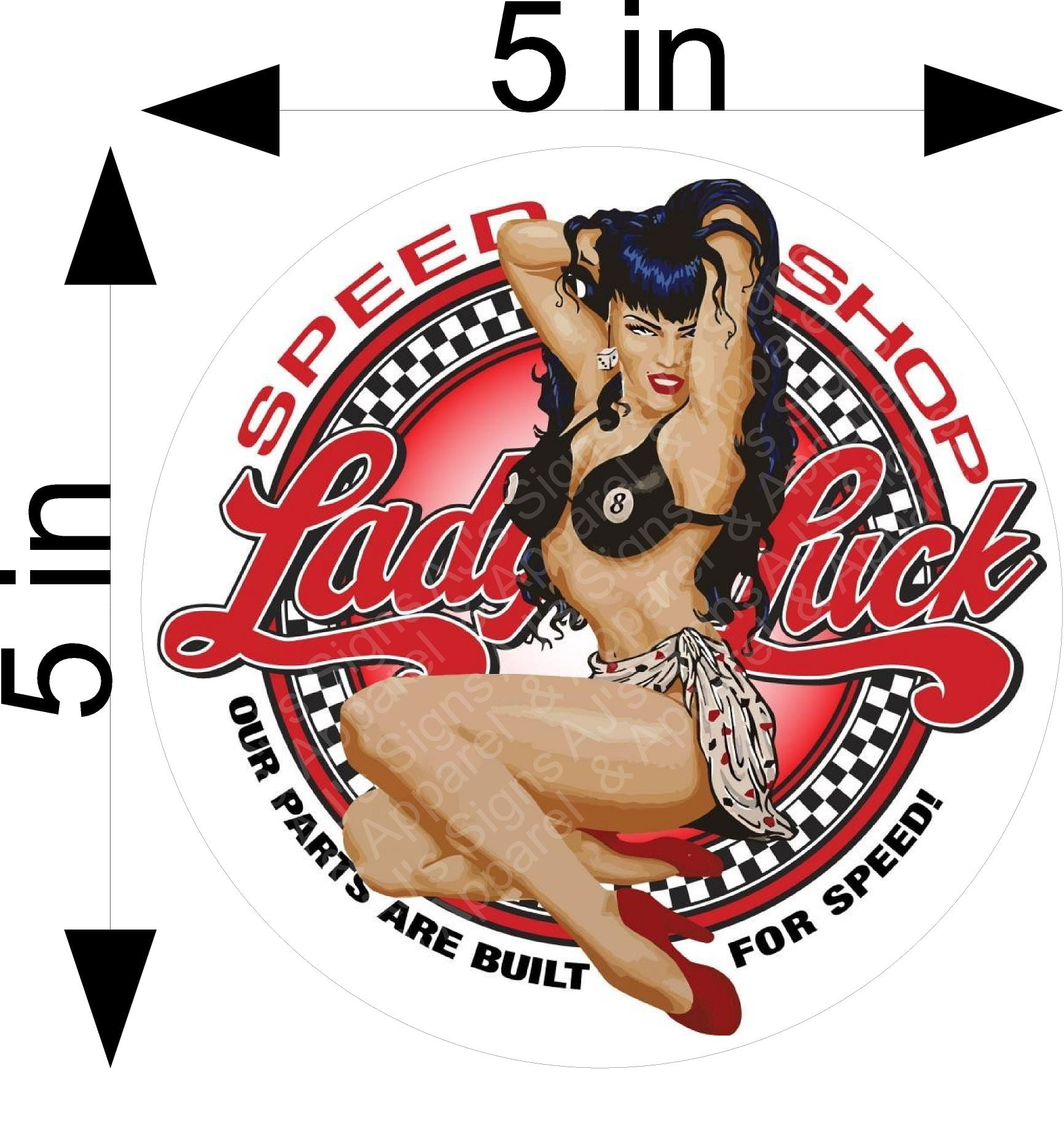 Lady Luck Speed Shop Pin up Sticker